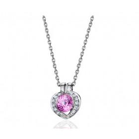 Collier Fiana joaillerie en or blanc 18 carats, diamant 0,08 carat et saphir rose