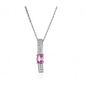 Collier Fiana joaillerie en or blanc 18 carats, diamant 0,11 carat et saphir rose