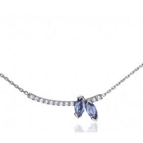 Collier Fiana joaillerie en or blanc 18 carats, diamant 0,11 carat et saphirs bleus