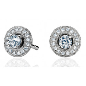 Boucles d'oreilles Fiana joaillerie en or blanc 18 carats, diamant 0,29 carat
