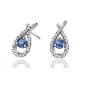 Boucles d'oreilles Fiana joaillerie en or blanc 18 carats, diamant 0,25 carat et saphirs
