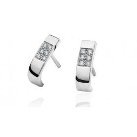 Boucles d'oreilles Fiana joaillerie en or blanc 18 carats, diamant 0,12 carat
