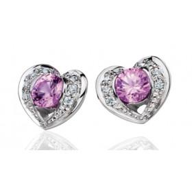 Boucles d'oreilles Fiana joaillerie en or blanc 18 carats, diamant 0,08 carat et saphirs roses