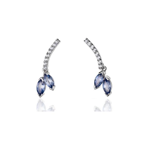 Boucles d'oreilles Fiana joaillerie en or blanc 18 carats, diamant 0,16 carat et saphirs bleus de Ceylan