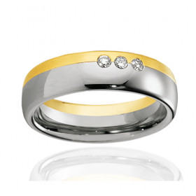 bague alliance Breuning deux ors 18 carats et diamant 0,09 carat