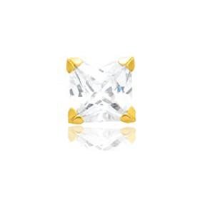 Boucle d'oreilles en or jaune 18 carats et zirconium carré 5mm pour homme