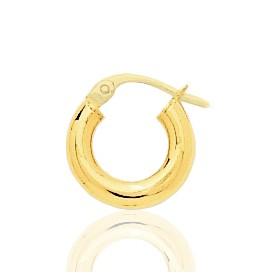 Boucle d'oreilles créole en or jaune 18 carats 12 mm pour homme