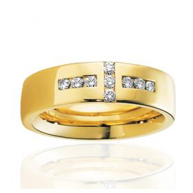 Bague alliance Breuning en or jaune 18 carats et diamants 0,27 carat pour femme