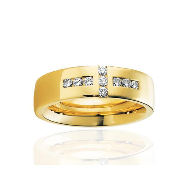 alliance breuning or jaune 18 carats et diamants 0,27 carat