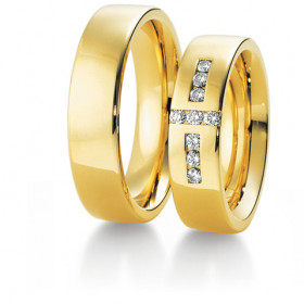 Duo d'alliances breuning or jaune 18 carats et diamants 0,27 carat