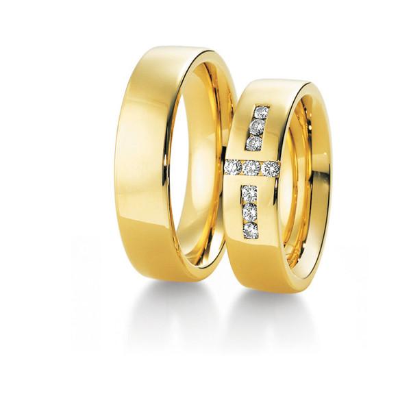 Duo d'alliances breuning or jaune 18 carats et diamants 0,27 carat