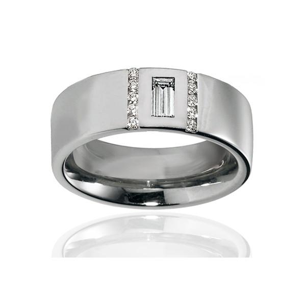 Duo d'alliances breuning or blanc 18 carats et diamants 0,37 carat