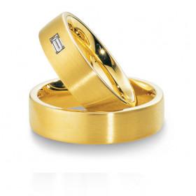 Duo d'alliances breuning or jaune 18 carats et diamants 0,14 carat