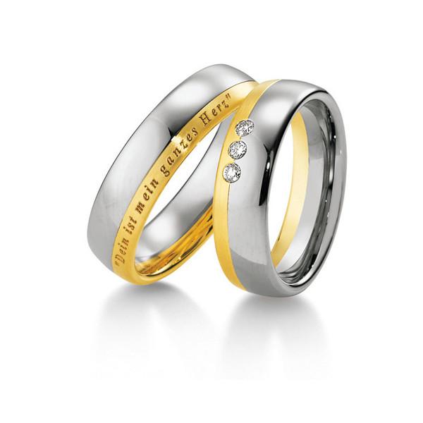 Duo d'alliance deux ors 18 carats et diamants Breuning