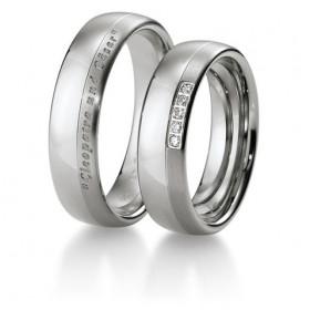duo d'alliances breuning or blanc 18 carats et diamants 0,038 carat
