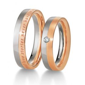 Duo d'alliance deux ors 18 carats et diamant Breuning