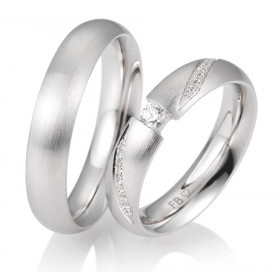 duo d'alliances breuning or blanc 18 carats et diamants