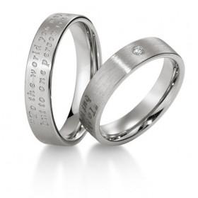 Duo d'alliances breuning or blanc 18 carats et diamants 0,030 carat
