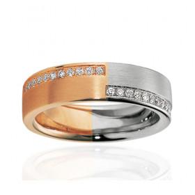 Bague alliance Breuning deux ors 18 carats et diamant 0,24 carat