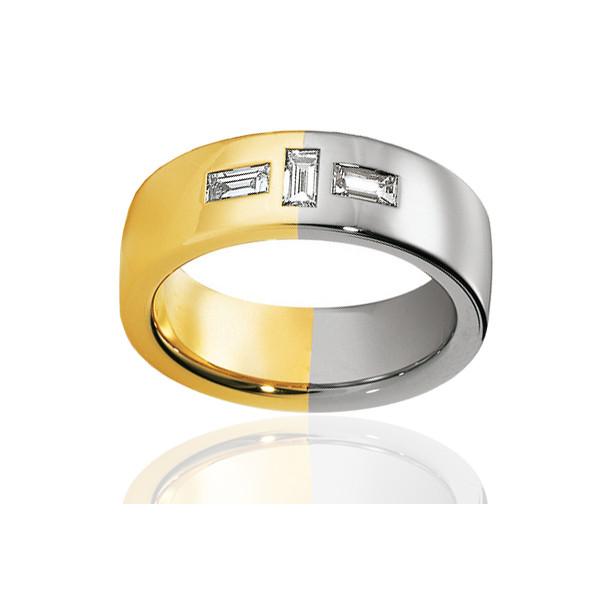 Alliance de mariage Breuning deux ors 18 carats et diamants 0,42 carat