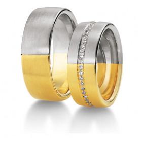 Duo d'alliance deux ors 18 carats et diamants 0,47 carats Breuning