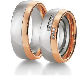 Duo d'alliances Breuning deux ors (or rose et or blanc) et diamants 0,096 carats