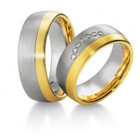 Duo d'alliances Breuning deux ors (or rose et or blanc) et diamants 0,14 carats
