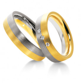 Duo d'alliances Breuning deux ors (or jaune et or blanc) et diamants 0,075 carats
