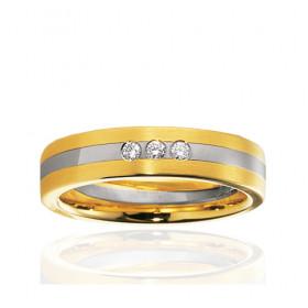 Bague alliance Breuning deux ors 18 carats et diamant 0,075 carat