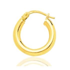 Boucle d'oreilles créole en or jaune 18 carats 15 mm pour homme