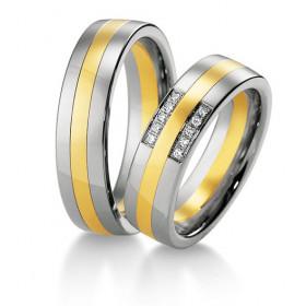 Duo d'alliances Breuning deux ors (or jaune et or blanc) et diamants 0,075 carats