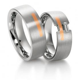 Duo d'alliances Breuning deux ors (or rose et or blanc) et diamant 0,25 carats