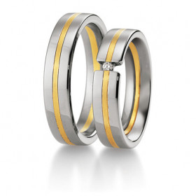 Duo d'alliances Breuning deux ors (or jaune et or blanc) et diamant 0,030 carats