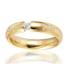 Bague alliance Breuning en or jaune 18 carats et diamants 0,13 carat pour femme