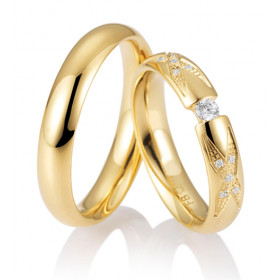 Duo d'alliance or jaune 18 carats et diamants 0,13 carat Breuning