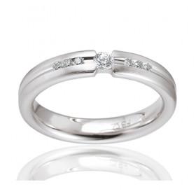 Bague alliance Breuning en or blanc 18 carats et diamant 0,15 carat