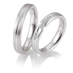 Duo d'alliances breuning or blanc 18 carats et diamants 0,15 carat