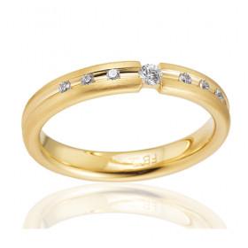 Bague alliance Breuning en or jaune 18 carats et diamants 0,12 carat pour femme
