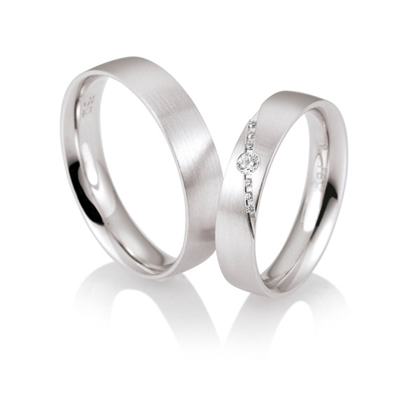 Duo d'alliances breuning or blanc 18 carats et diamants 0,08 carat