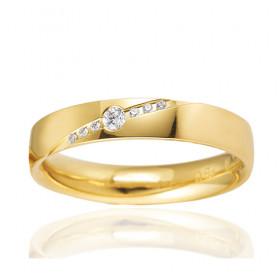 Bague alliance Breuning en or jaune 18 carats et diamants 0,07 carat pour femme