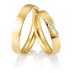 """Duo d'alliance or jaune 18 carats et diamants 0,07 carat Breuning """"connexion"""""""