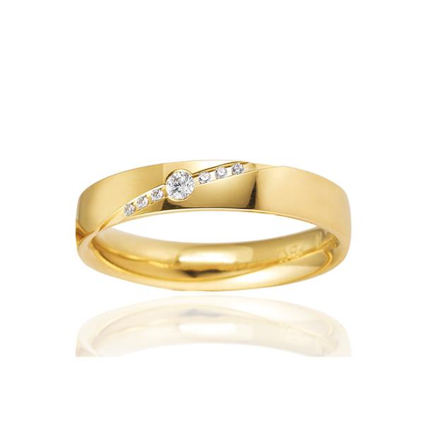 Alliance femme or jaune 18 carats et diamants BREUNING