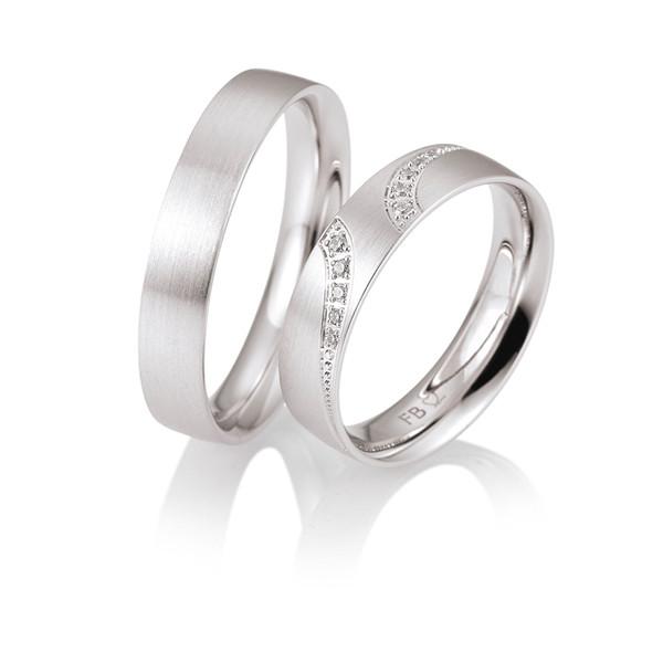 Duo d'alliances breuning or blanc 18 carats et diamants 0,07 carat