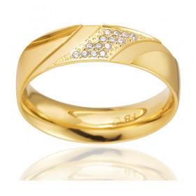 Bague alliance Breuning en or jaune 18 carats et diamants 0,077 carat pour femme