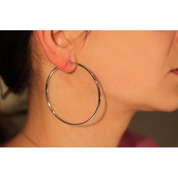 boucles d'oreilles femme créoles or blanc 18 carats