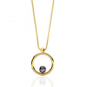 """Collier 42 cm avec perle de culture noire """"Romy"""" or jaune 18 carats Thomas Escudier"""