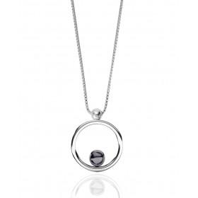 """Collier 42 cm avec perle de culture noire """"Romy"""" or blanc 18 carats Thomas Escudier"""