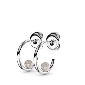 Boucles d'oreilles or blanc 18 carats et perles Thomas Escudier
