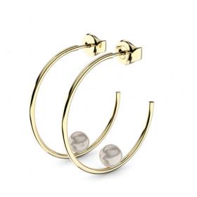 Boucles d'oreilles or jaune 18 carats et perles Thomas Escudier