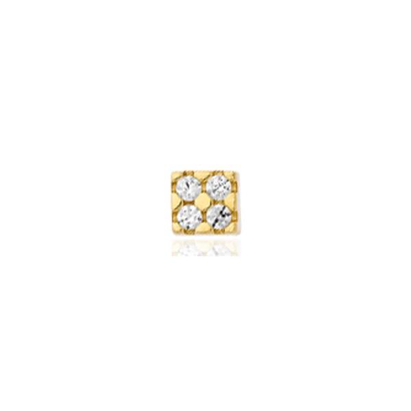 Boucle d'oreille or jaune et zirconiums pour homme